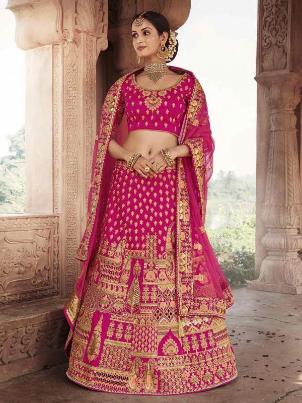 Designer Wedding Lehenga Choli Pink Colour.
