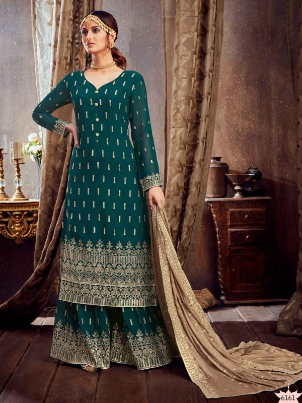 Rama Green Colour Georgette Salwar Suit.