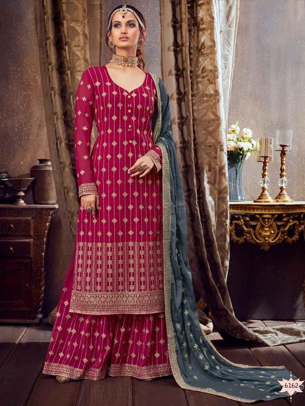 Magenta Colour Sharara Salwar Suit.