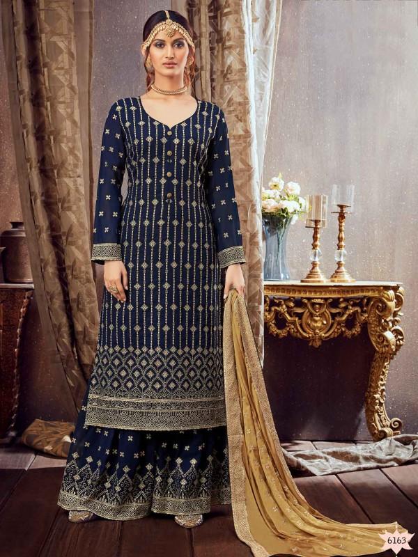 Blue Party Wear Sharara Salwar Suit in Georgette Fabric.