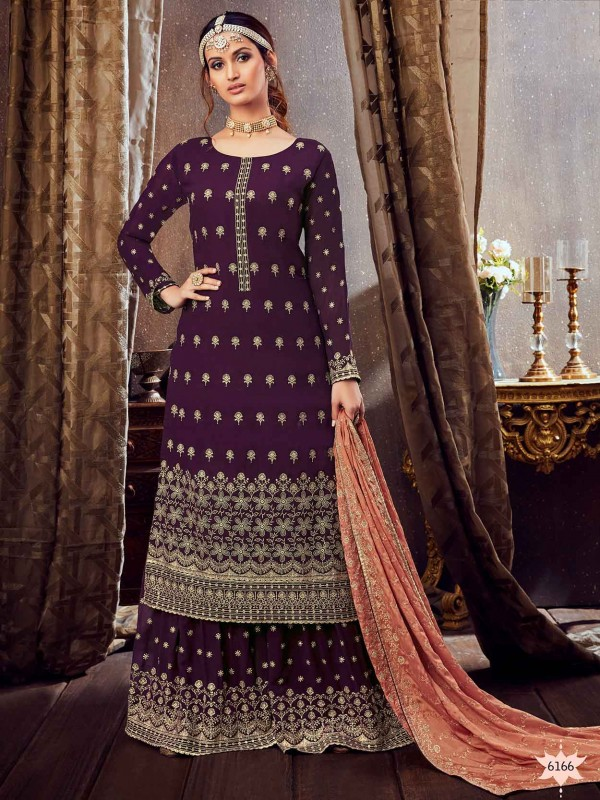 Purple Colour Art Silk Party Wear Salwar Suit.