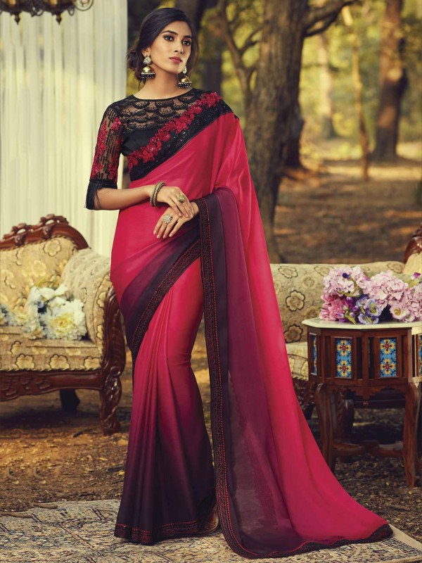 Indian Designer Saree Pink,Wine Colour in Silk Fabric.