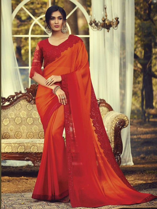 Red,Orange Colour Silk Traditional Saree.