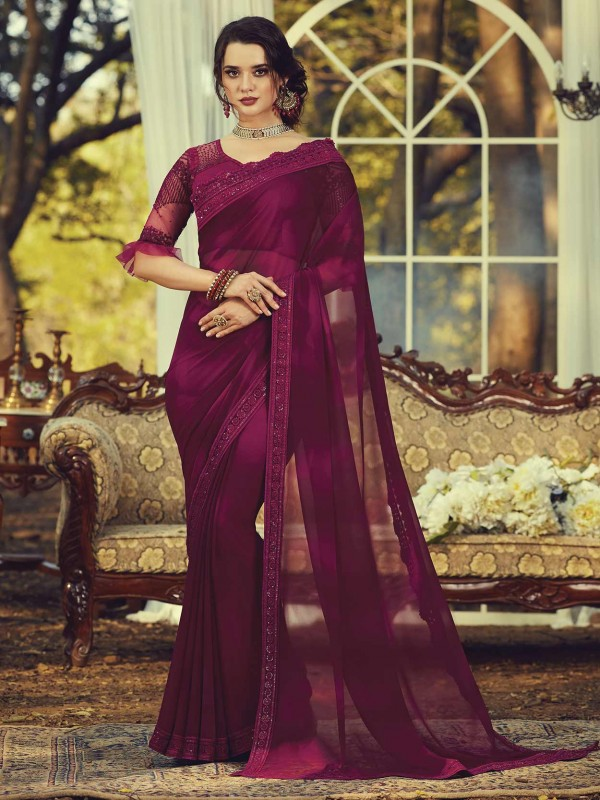 Wine Georgette Party Wear Saree.