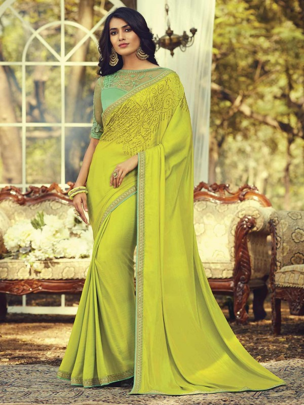Green Colour Silk Embroidery Saree.