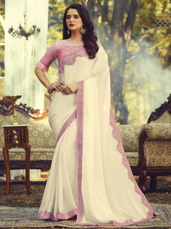 Off White Colour Silk Designer Saree.