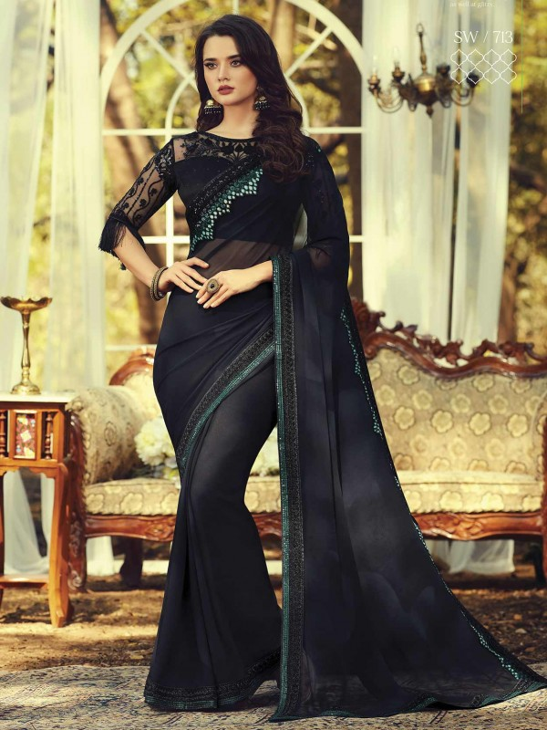 Black Colour Georgette Party Wear Saree.