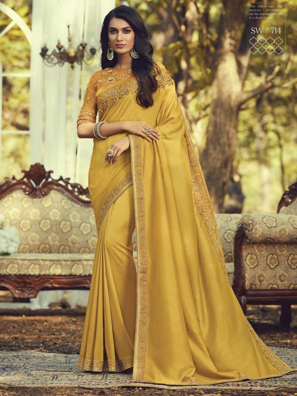 Golden Colour Silk Designer Women Saree.