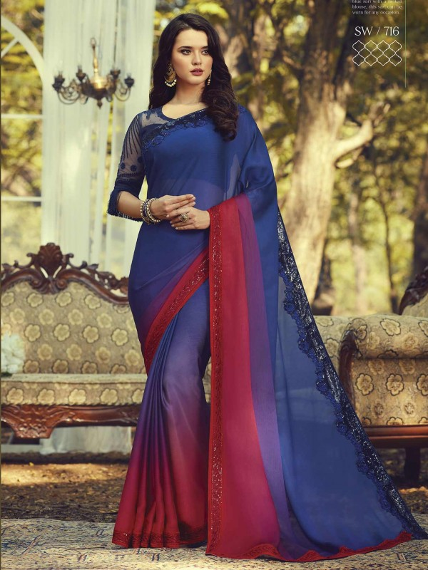 Blue Colour in Silk Women Saree.