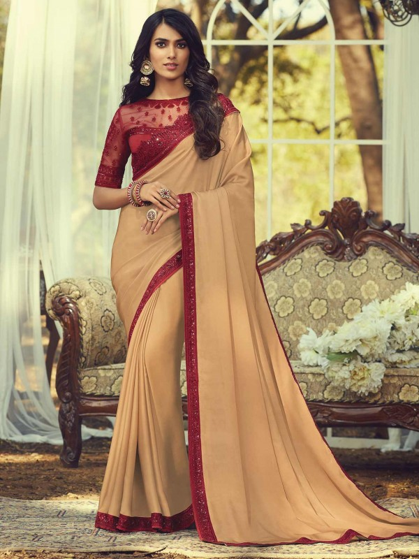 Golden,Beige Colour Silk Designer Saree.