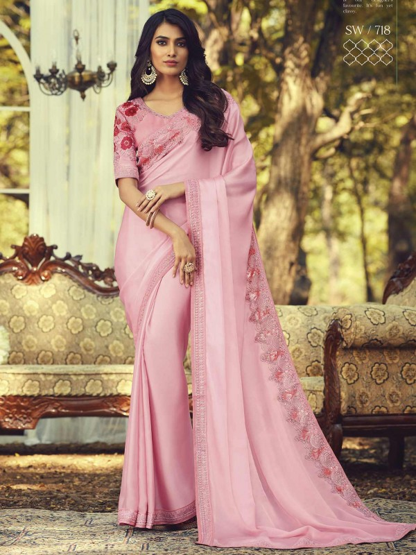 Pink Colour Silk Party Wear Sari.