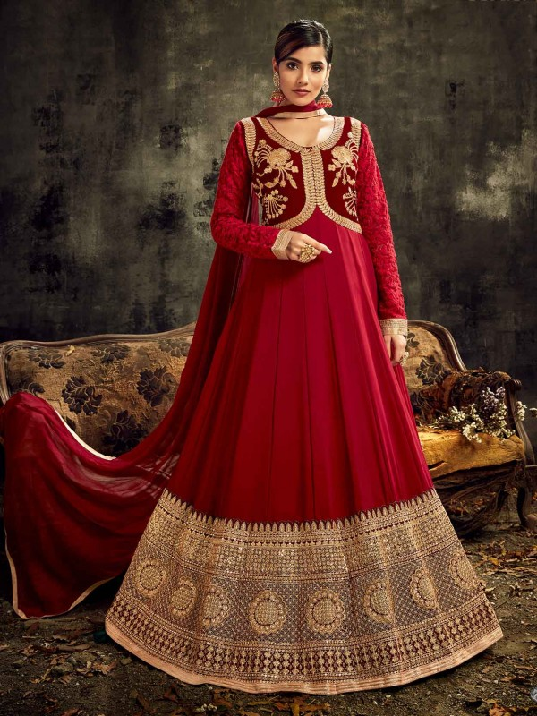 Red,Maroon Colour Designer Salwar Kameez.