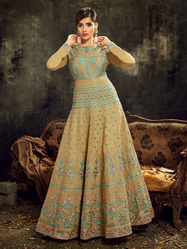 Golden Colour Silk Designer Salwar Suit.