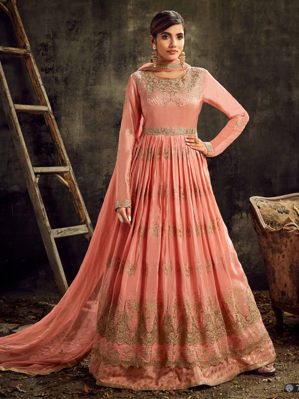 Peach Colour Anarkali Salwar Suit.