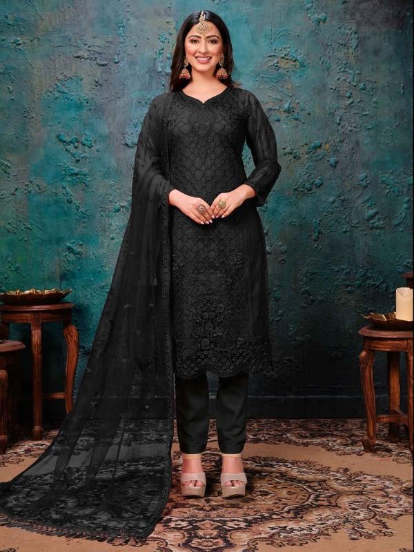 Black Colour Net Designer Salwar Suit.