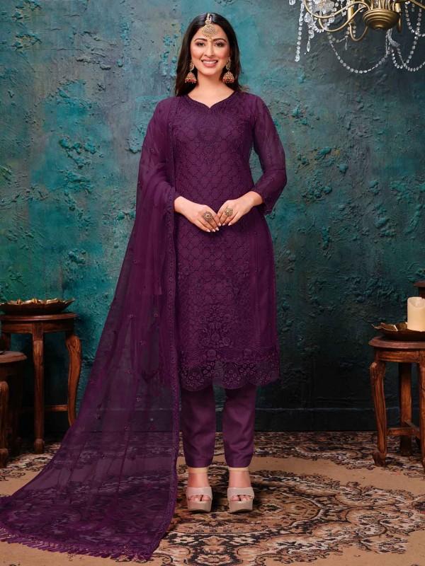 Net Party Wear Salwar Suit in Wine Colour.