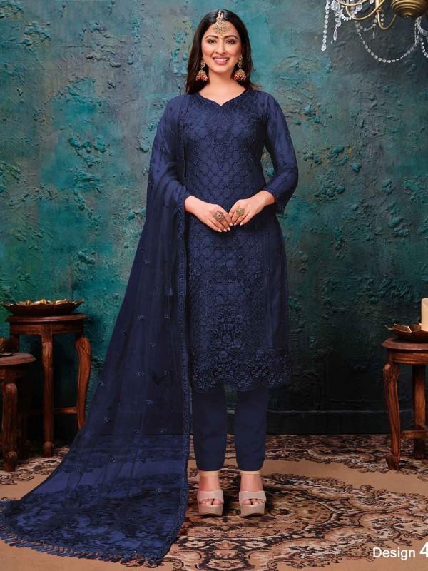 Blue Colour Net Salwar Kameez.