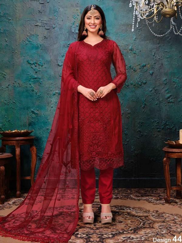 Red Colour Women Salwar Kameez.