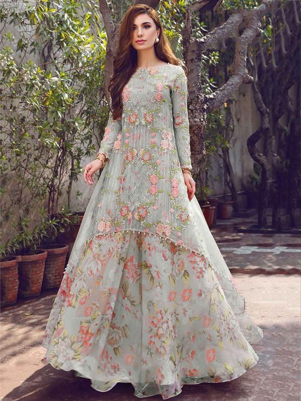 Grey Colour Georgette Designer Salwar Kameez.
