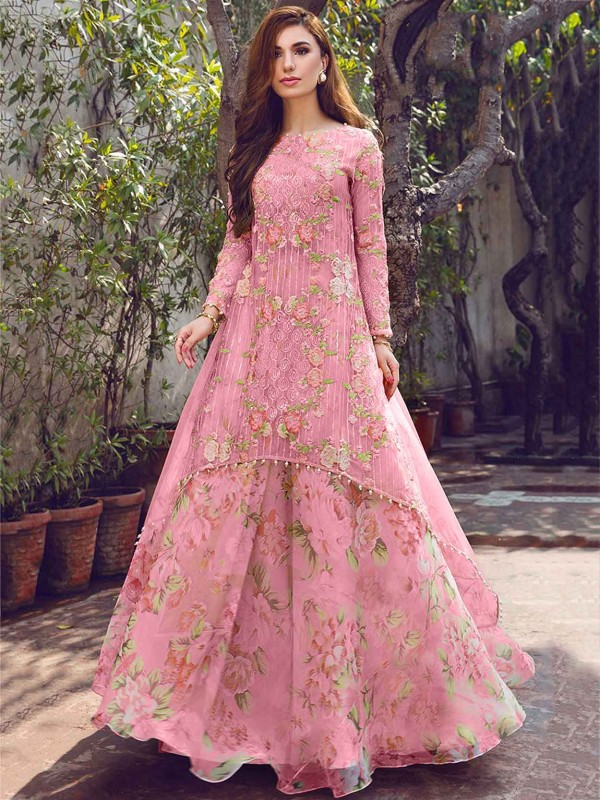 Anarkali Salwar Kameez Pink Colour in Georgette Fabric.