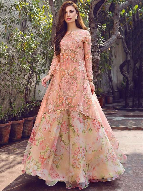 Peach Colour Georgette Anarkali Salwar Kameez.