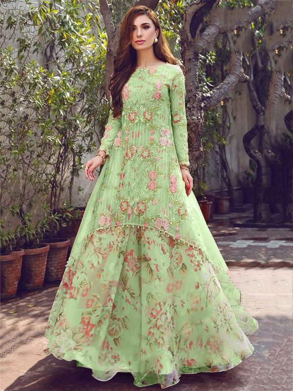 Pista Green Colour Indian Designer Salwar Suit.