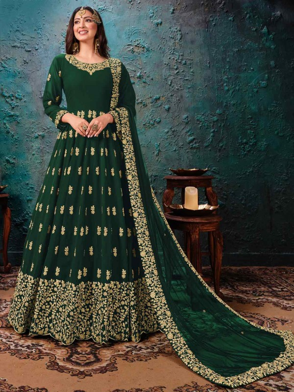Green Colour Georgette Anarkali Salwar Kameez.