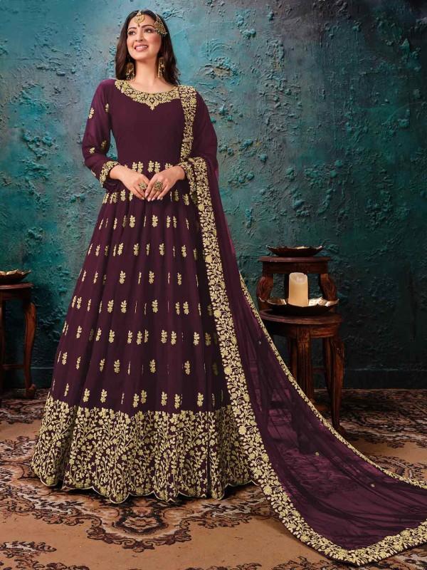 Wine Colour Georgette Party Wear Salwar Suit.