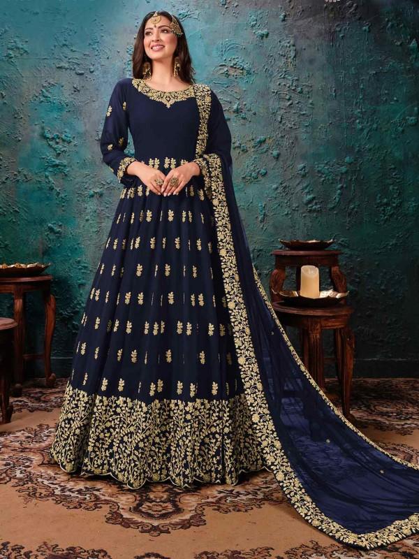 Blue Colour Georgette Designer Salwar Suit.