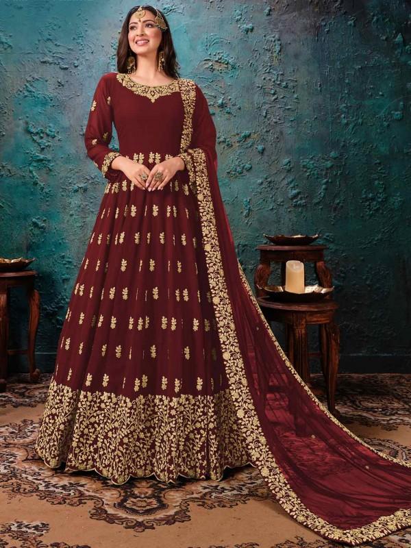 Indian Designer Salwar Suit Maroon Colour in Georgette Fabric.