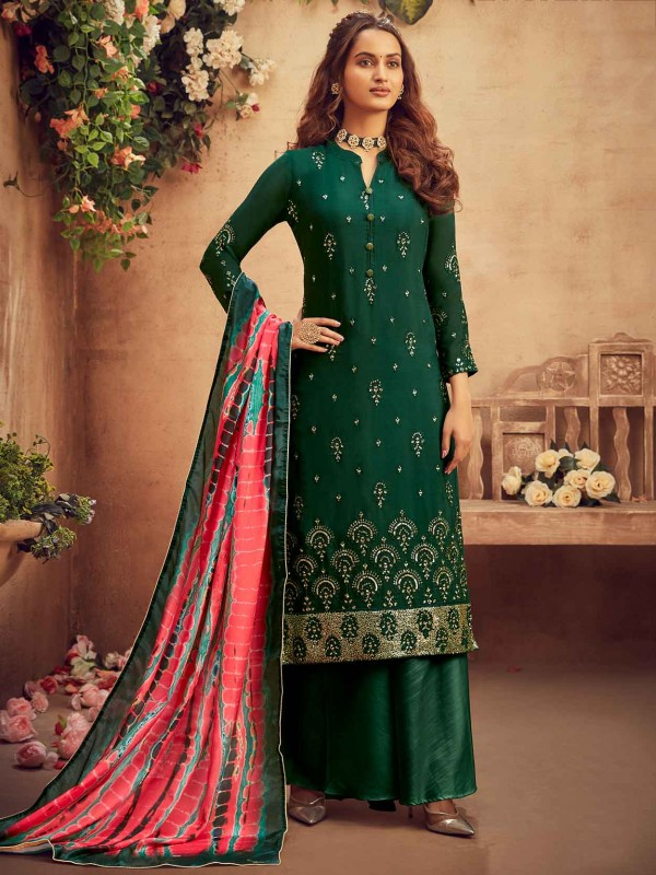 Green Colour Party Wear Salwar Suit in Chiffon Fabric.