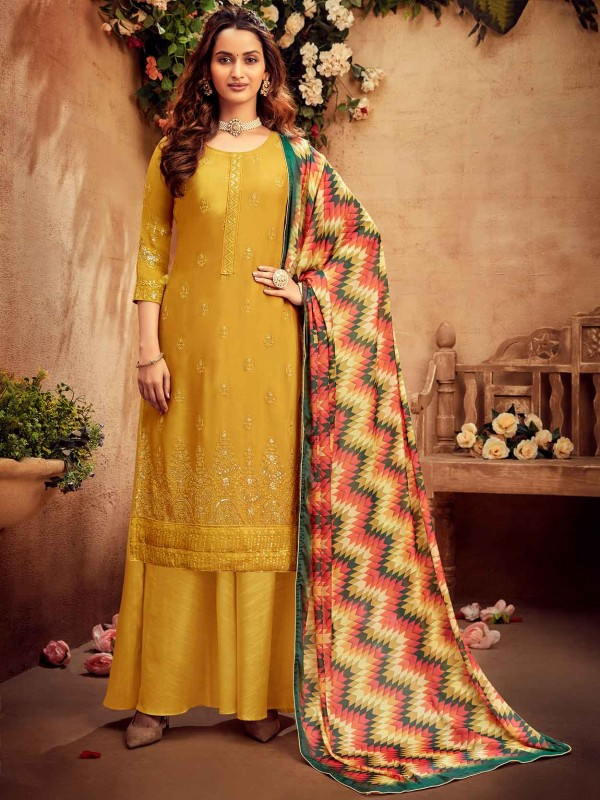 Yellow Colour Designer Palazzo Salwar Suit in Chiffon Fabric.