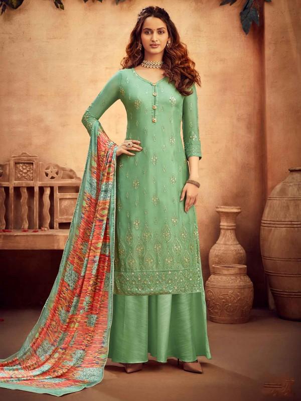 Green Chiffon Designer Salwar Kameez.