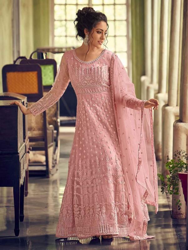 Pink Colour Net,Satin Fabric Designer Salwar Suit.