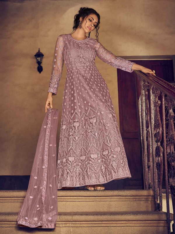 Net,Satin Designer Salwar Suit in Purple Colour.