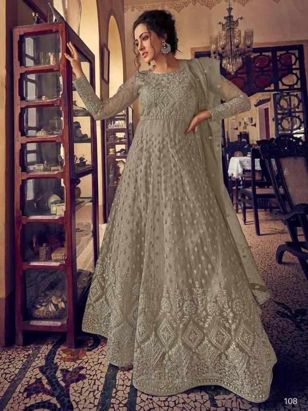 Brown Colour Net,Satin Fabric Women Salwar Kameez.