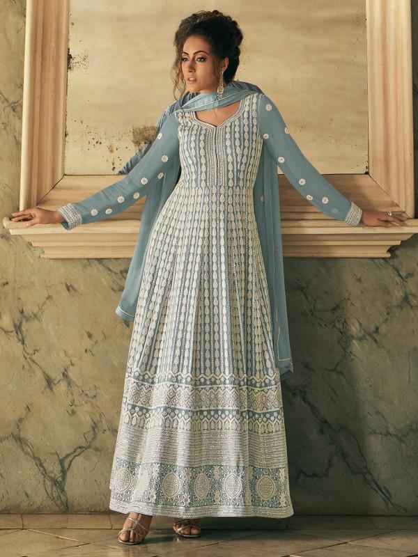 Grey Colour Georgette Designer Salwar Suit.
