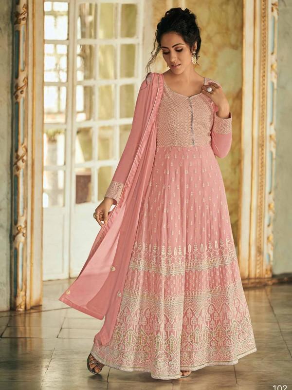 Georgette Anarkali Salwar Kameez in Pink Colour.