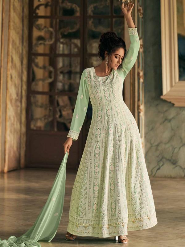 Green Colour Georgette Designer Salwar Suit.