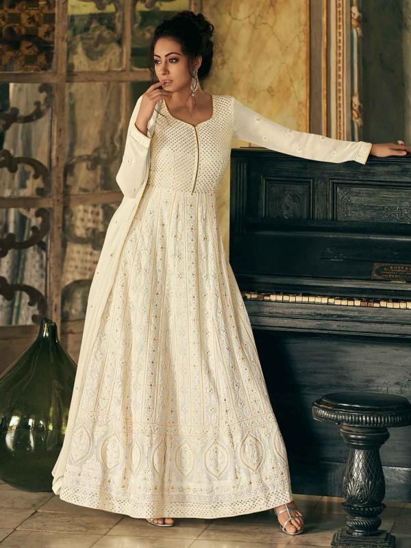 Off White Colour Georgette Party Wear Salwar Suit.