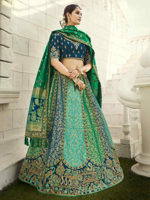 Green Colour Imported Designer Lehenga.