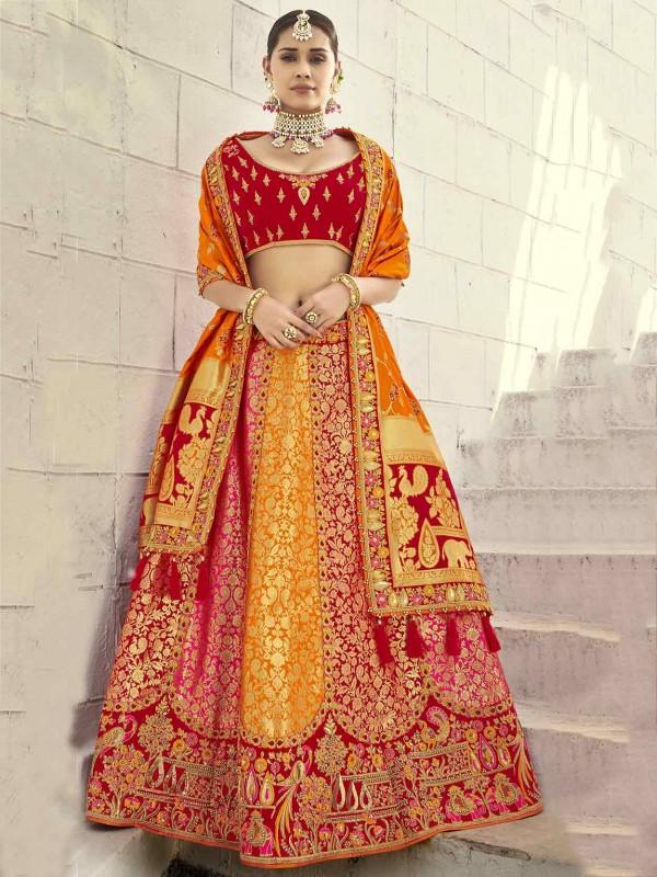 Imported Fabric Wedding Lehenga Choli in Red,Orange Colour.