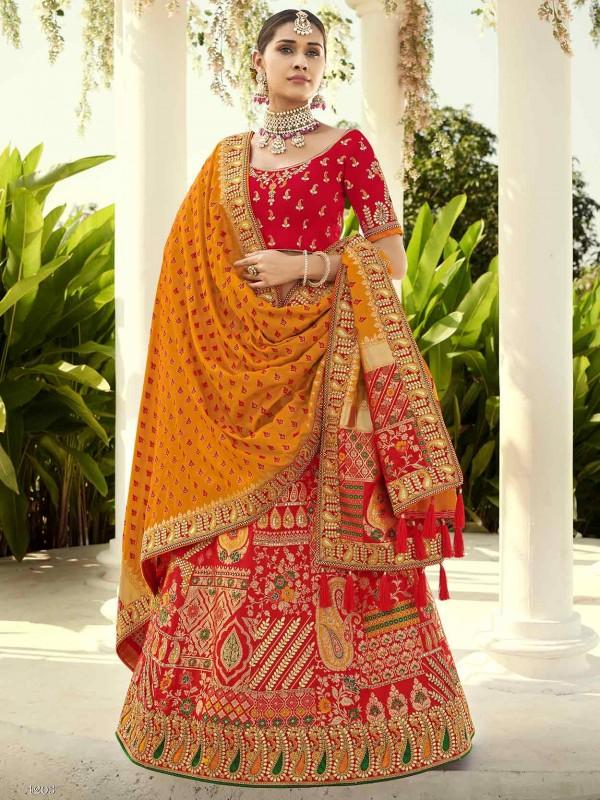 Red Colour Indian Designer Lehenga in Imported Fabric.