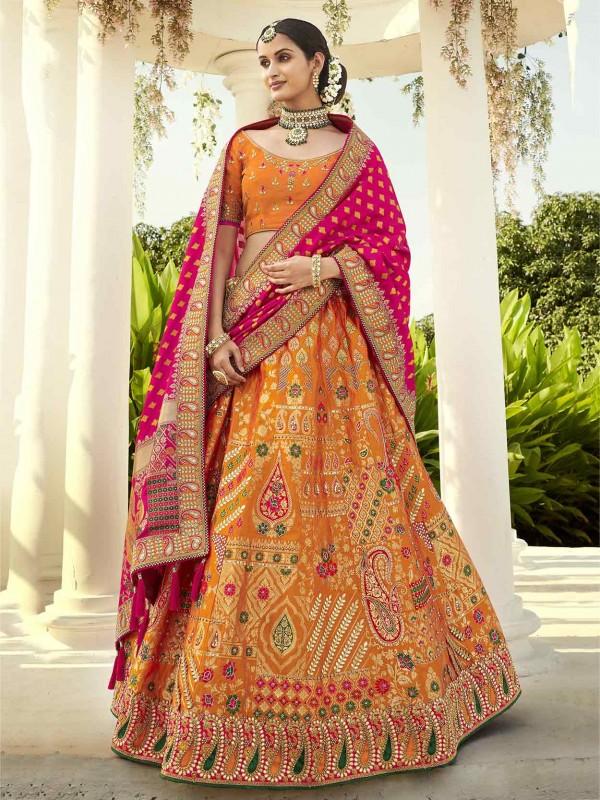 Traditional Lehenga Choli in Orange Colour With Imported Fabric.