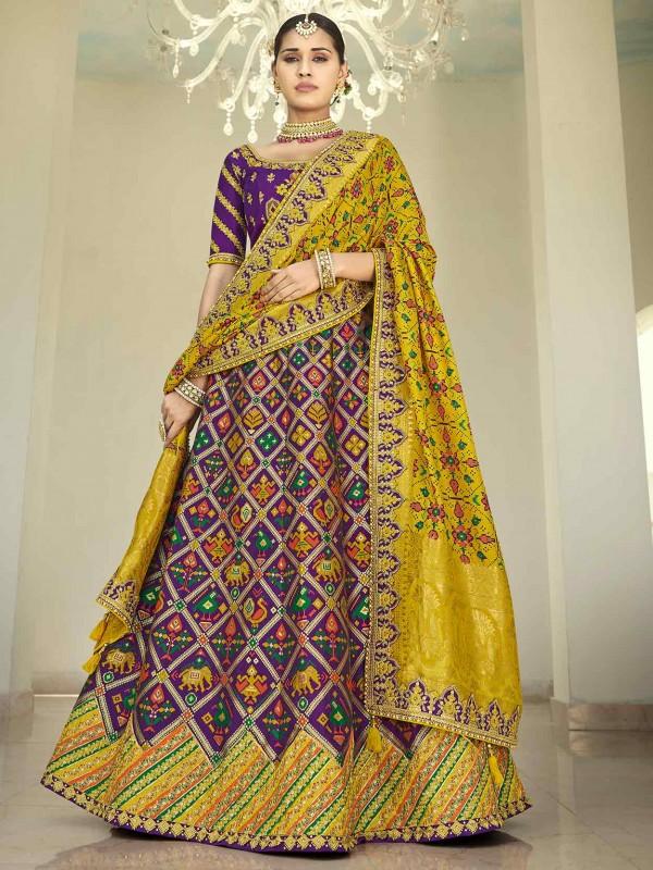 Imported Fabric Designer Lehenga in Purple Colour.
