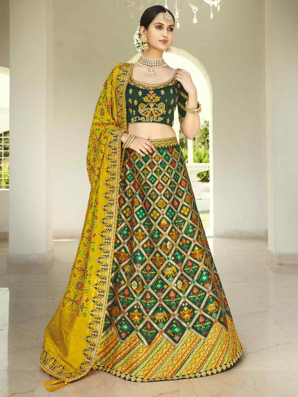Green,Golden Colour Imported Fabric Women Lehenga.