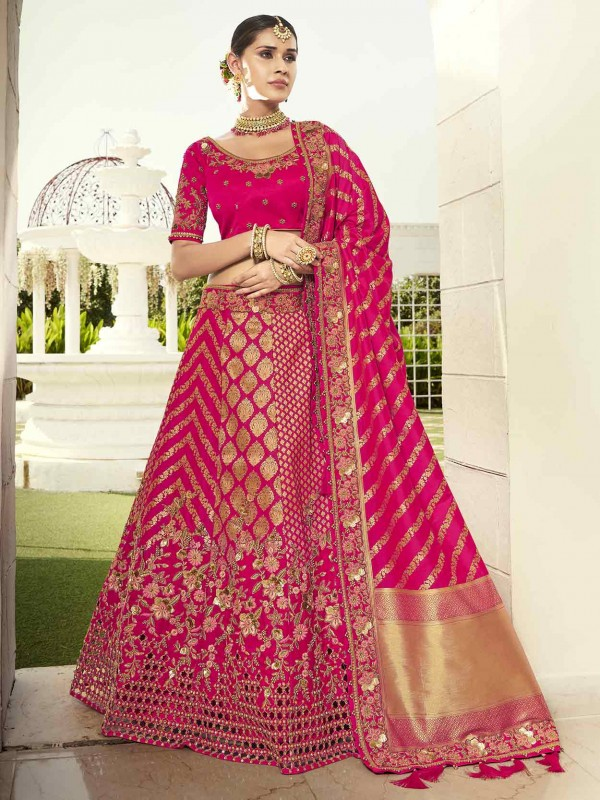 Pink Colour Bridal Lehenga Choli in Imported Fabric.