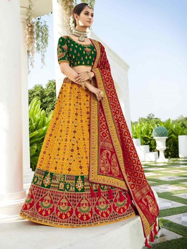 Mustard Yellow Colour Indian Designer Lehenga Choli.