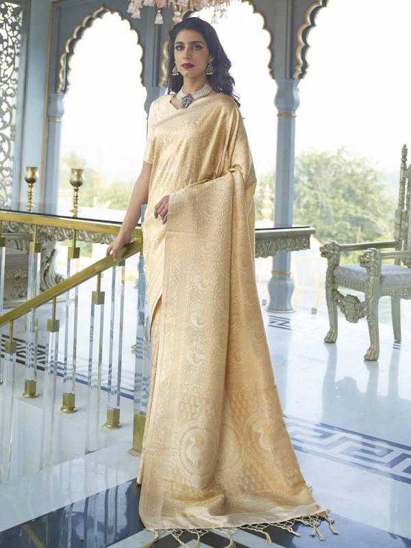 Golden Colour Designer Silk Saree.