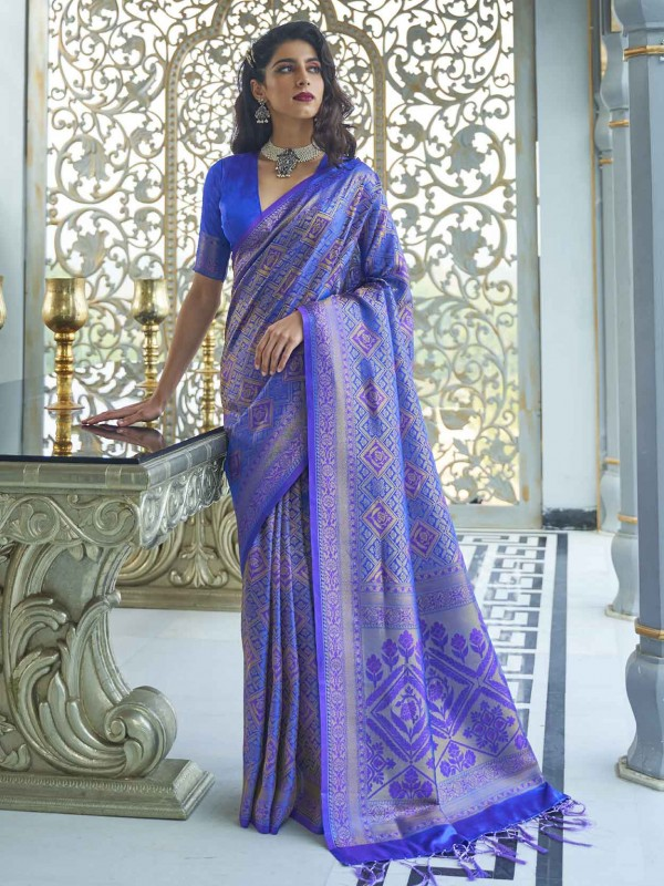 Blue Colour Silk Handloom Saree.